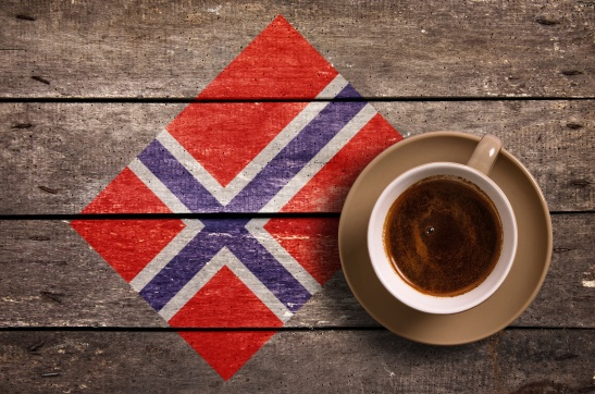 Norway flag with coffee
